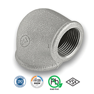90° Galvanised FxF Reducing Elbow Malleable Pipe Fitting