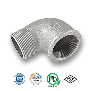 90° Galvanised MxF Elbow Malleable Pipe Fitting