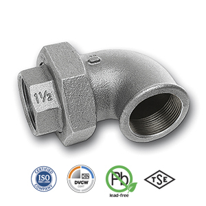 90° Galvanised FxF Union Elbow Malleable Pipe Fitting
