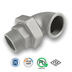 90° Galvanised MxF Union Elbow Malleable Pipe Fitting