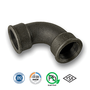 Black 90° FxF Short Bend Malleable Pipe Fitting