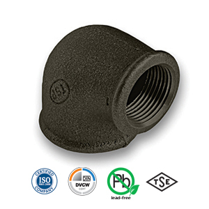 Black 90° FxF Reducing Elbow Malleable Pipe Fitting