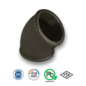 Black 45° FxF Elbow Malleable Pipe Fitting