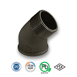 Black 45° MxF Elbow Malleable Pipe Fitting