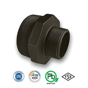 Black Reducing Hexagon Nipple Malleable Pipe Fitting