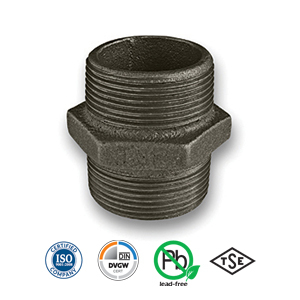 Black Hexagon Nipple Malleable Pipe Fitting