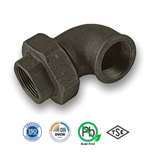 Black 90° FxF Union Elbow Malleable Pipe Fitting