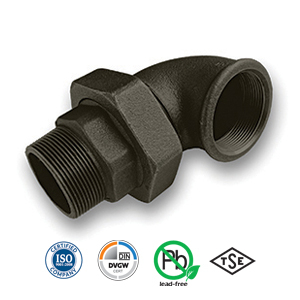 Black 90° MxF Union Elbow Malleable Pipe Fitting