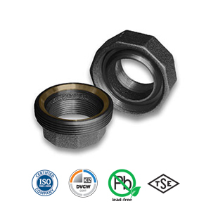 Black Spherical/Taper Seat Bronze/Iron Union Malleable Pipe Fitting