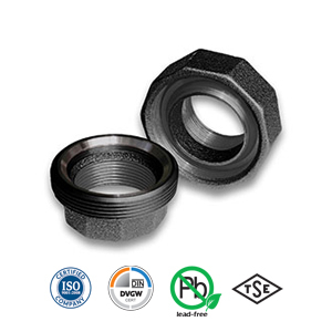 Black Spherical/Taper Seat Iron/Iron Union Malleable Pipe Fitting